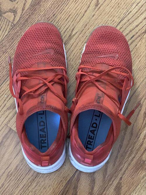 tread labs pace insoles on red shoes